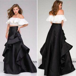 NWT Jovani Ruffle Top & Ball Gown Skirt Set 47689
